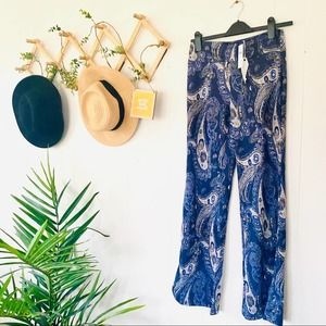 Anthropologie Maeve blue paisley pull on pants NWT